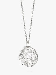 Daisy London Isla Fossil Round Pendant Necklace Silver