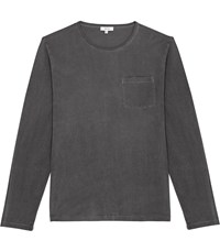 Reiss Bertie Ls Long Sleeved Garment Dyed T Shirt In Washed Black