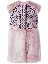 Giamba Fur Panels Embroidered Vest Pink And Purple
