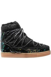Sophia Webster Quentin Glittered Leather Shearling And Mesh Snow Boots Black