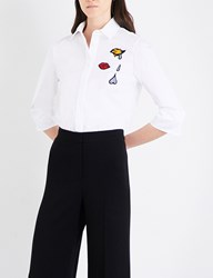 Mary Katrantzou Rita Cotton Poplin Shirt White