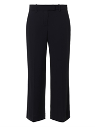 A.L.C. Navy Wide Leg Cropped Crepe Trousers