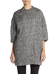 Alice Olivia Roy Bracelet Length Sleeve Coat Black White