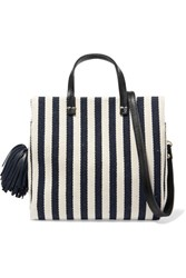 Clare V. V Petit Leather Trimmed Striped Cotton Canvas Tote Midnight Blue