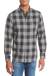 Men's Nordstrom Regular Fit Brushed Flannel Sport Shirt Grey Shade Big Buffalo Check