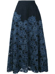 Antonio Marras Floral A Line Skirt Women Cotton Polyester Spandex Elastane Polyimide 40 Black