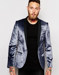 Noose And Monkey Velvet Blazer In Skinny Fit Silver