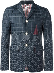 Thom Browne Embroidered Down Blazer Blue