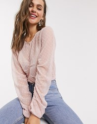 Pieces Lonnie Ruched Front Long Sleeve Blouse Pink
