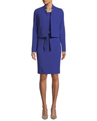 Albert Nipon Belted Sheath Dress W Matching Jacket Cobalt