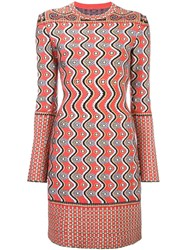 Azzedine Alaia Geometric Jacquard Dress Pink Purple