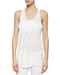 Iro Doris Sleeveless Perforated Linen Top Ecru