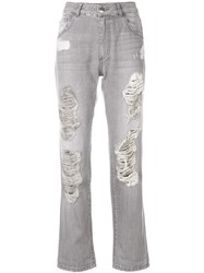 Each X Other High Waisted Distressed Jeans Cotton Grey
