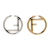 Gold And Silver 'F Is Fendi' Earrings
