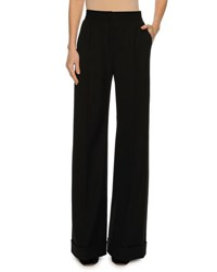 Dolce And Gabbana Cuffed Wide Leg Pants Black