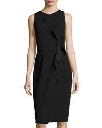 Tahari By Arthur S. Levine Scuba Crepe Ruffled Sheath Dress Black
