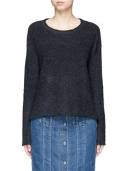 James Perse Cashmere Tuck Stitch Knit Cropped Sweater Grey