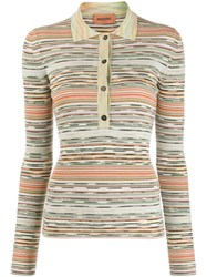 Missoni Stripe Patterned Knitted Polo Shirt Neutrals