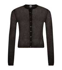 M Missoni Cropped Mesh Knit Cardigan Black