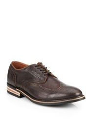 Walk Over Eliot Lace Up Leather Wingtip Derby Shoes Chocolate