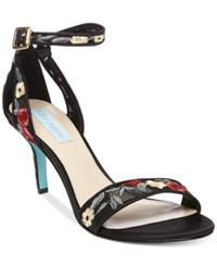 Blue By Betsey Johnson Madox Embroidered Kitten Heel Sandals Women's Shoes Black Floral