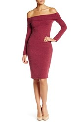 Loveappella Off The Shoulder Bodycon Dress Petite Red