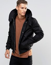 Asos Hooded Jacket With Borg Lined Hood In Black Black