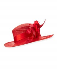 Philip Treacy Rosette Upturn Straw Hat Red