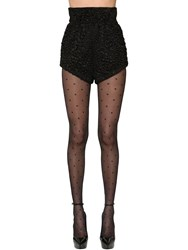 Saint Laurent High Waist Viscose And Silk Satin Shorts Black