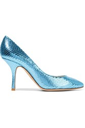 Giuseppe Zanotti Metallic Snake Effect Leather Pumps Light Blue