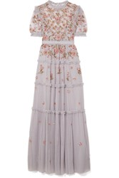 Needle And Thread Carnation Sequined Embroidered Tulle Gown Light Blue