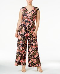 Love Squared Trendy Plus Size Floral Print Jumpsuit Navy Pink