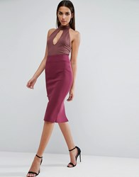 Asos Pencil Skirt In Scuba Plum Purple