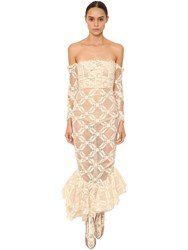 Brock Collection Off The Shoulder Tulle And Lace Dress White