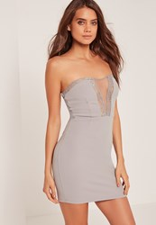 Missguided Lace Insert Bandeau Bodycon Dress Grey Grey