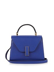 Valextra Iside Micro Grained Leather Cross Body Bag Blue
