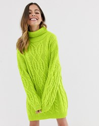 Moon River Lime Cable Knit Jumper Dress Green