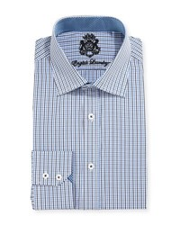 English Laundry Mini Check Cotton Dress Shirt Blue