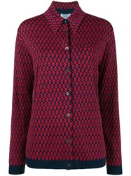 Prada Patterned Knitted Shirt Virgin Wool Red