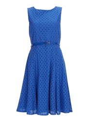 Wallis Blue Geo Lace Fit And Flare