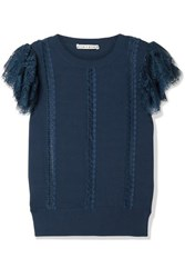 Alice Olivia Rosio Lace Trimmed Knitted Sweater Storm Blue