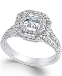 Macy's Diamond Halo Engagement Ring In 18K White Gold 1 Ct. T.W.