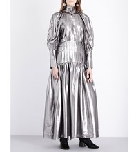 Ellery Sword Metallic Silk Blend Dress Silver