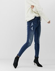B.Young Mom Jeans With Wearing Antique Blue