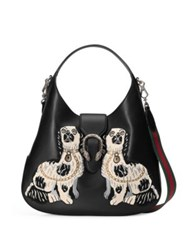Gucci Dionysus Embroidered Leather Hobo Bag Black Multi