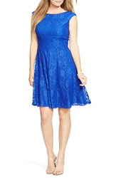 Plus Size Women's Lauren Ralph Lauren Empire Waist Lace Fit And Flare Dress