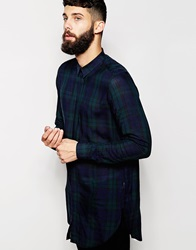 Asos Super Long Line Shirt With Long Sleeves And Oversized Grid Check Green