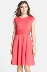 Women's Eliza J Pintucked Waist Seamed Ponte Knit Fit And Flare Dress Coral