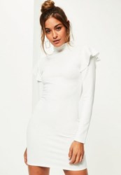 Missguided White Scuba High Neck Frill Shoulder Bodycon Dress