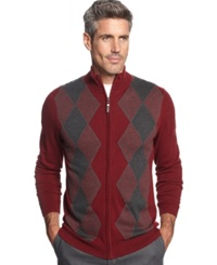 Tasso Elba Full Zip Argyle Sweater Port Combo